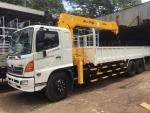 Tư vấn báo giá xe tải Hino 16 tấn thùng lửng gắn cẩu